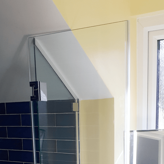 Bespoke Glass Shower Enclosure sloped ceiling