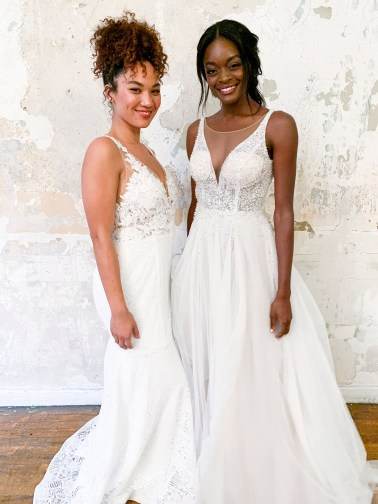 Brides in long sheer wedding dresses