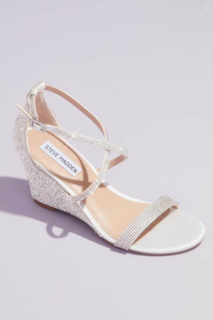 Crystal Crisscross Strap Wedge Sandals