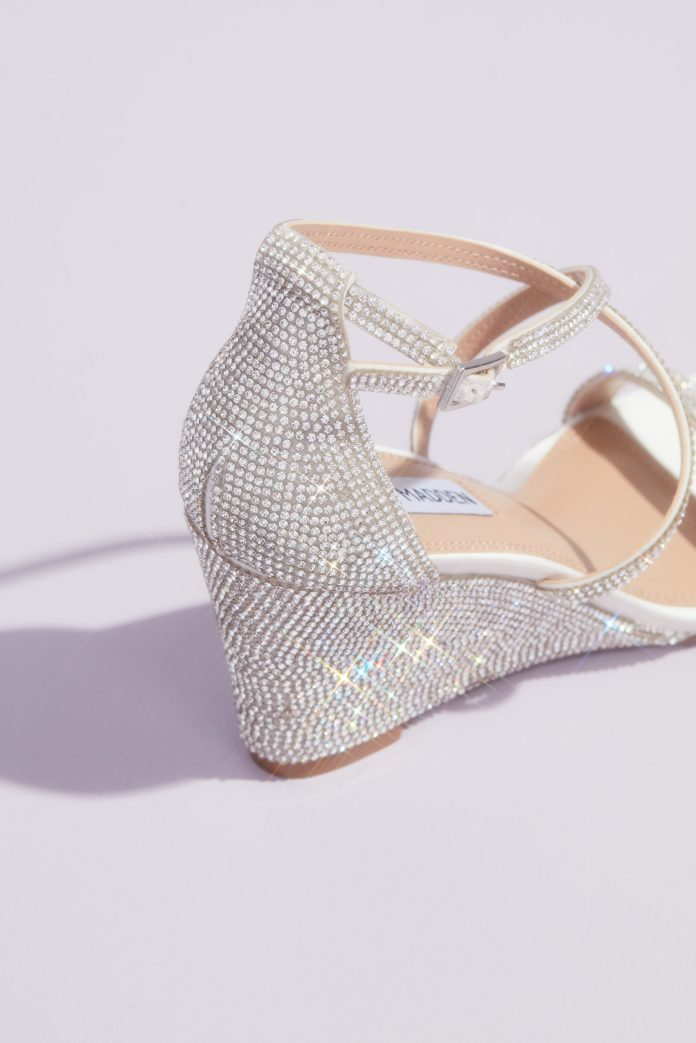 Detail shot of Crystal Crisscross Strap Wedge Sandals