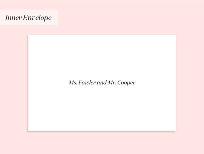 Invitation to an unmarried couple who live together