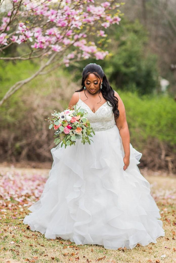 Bride wears ball gown
