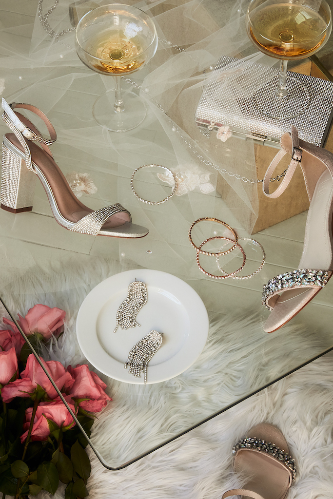 Crystal matched wedding accessories