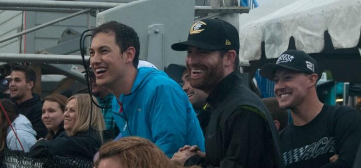 Joe Logano (left), and Corey LaJoie (center) laughed as another driver spun out. (David Boraks photo)