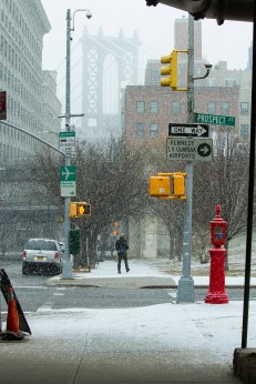 BROOKLYN - January 31, 2017: The Manhattan Bridge is barely visible through a snowstorm.