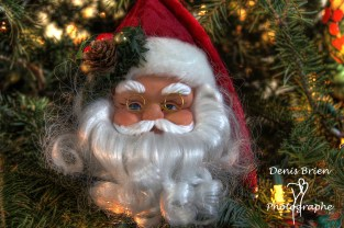 Close up of decoration of Santa Claus face with glasses in a Christmas tree