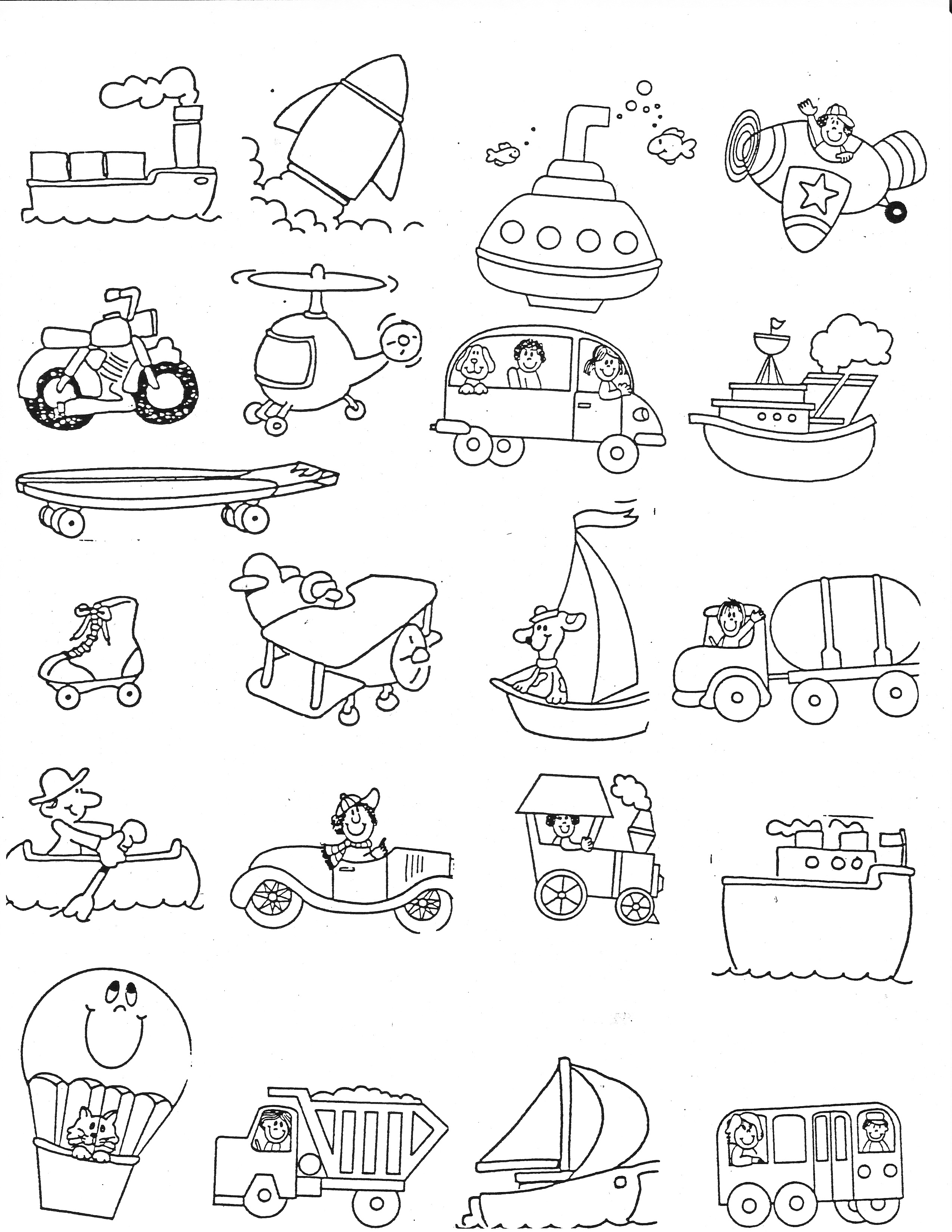 Free pre-school road safety coloring pages