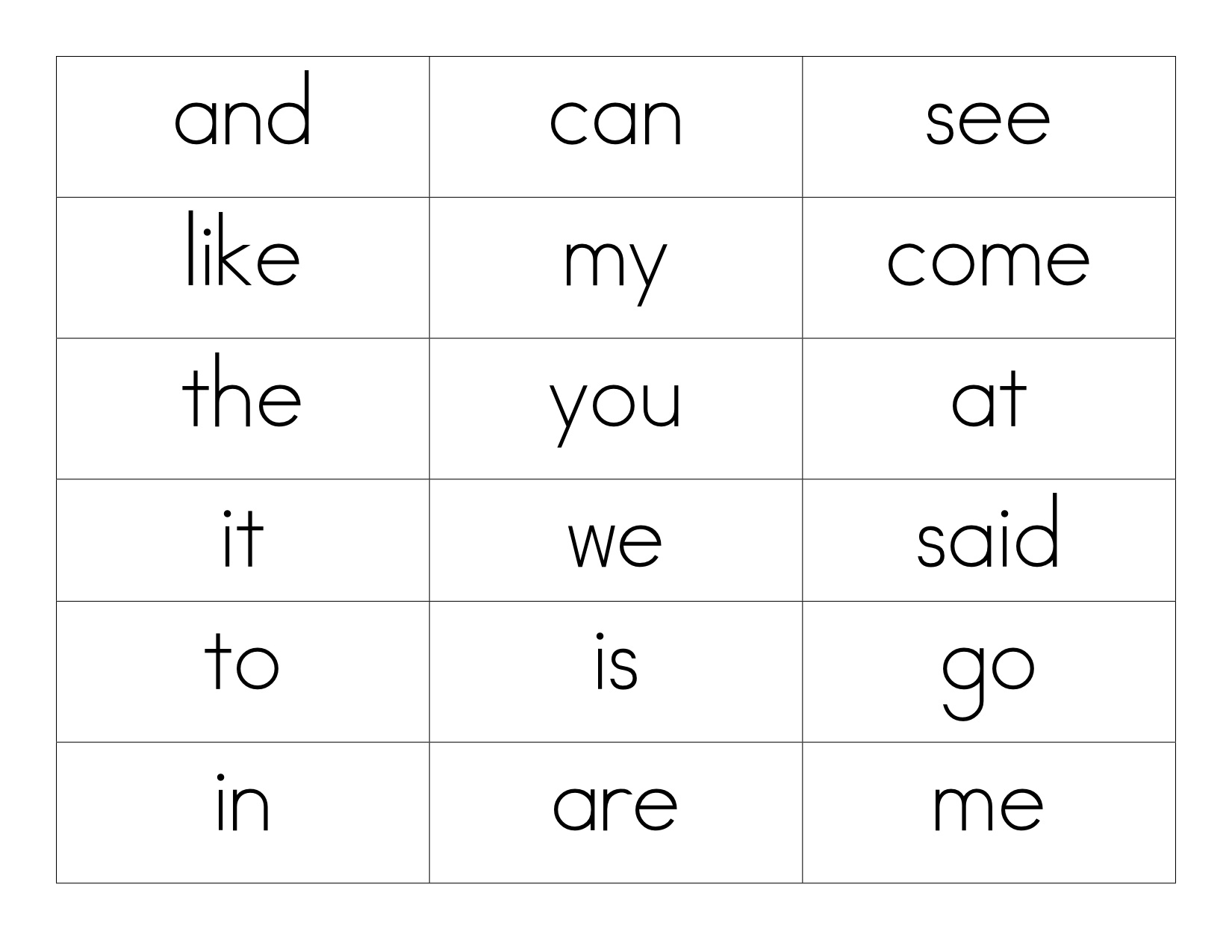 Sight Word Memory Images