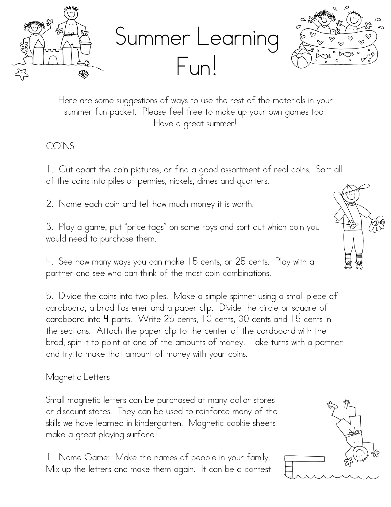 Kindergarten Parent Packet Images