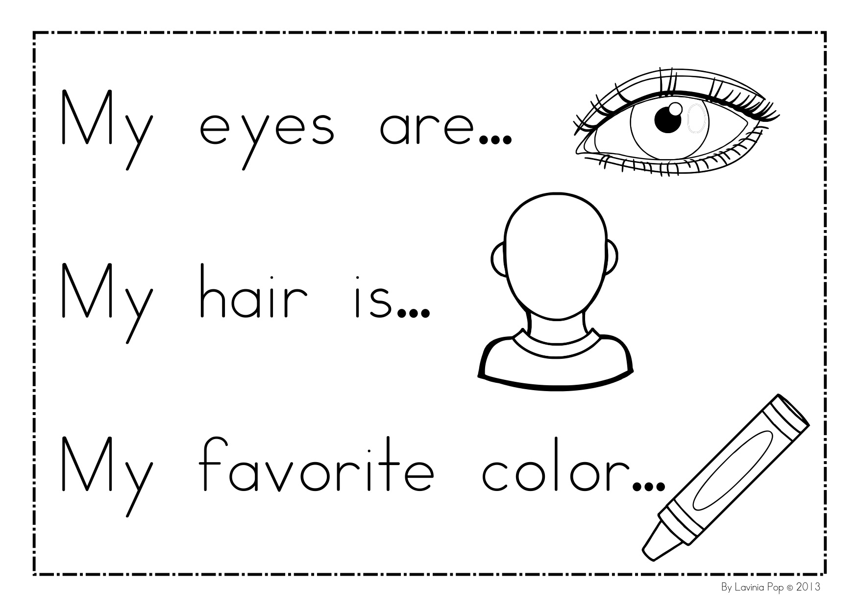 Preschool Worksheet On Myself