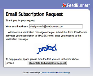 Email Subscription Request window