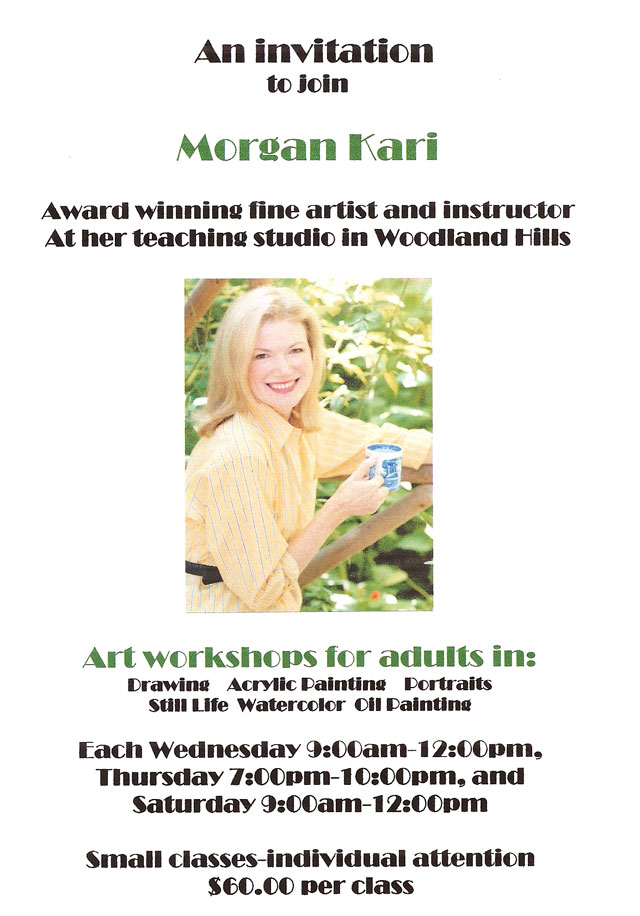Morgan Kari's studio flyer