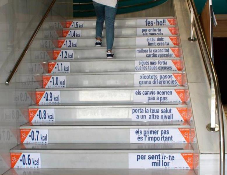 Cartel escaleras COVID 19