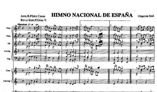 Himno Nacional. Partitura