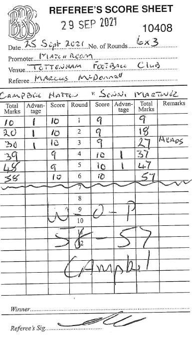 Tarjeta de puntuación del combate
