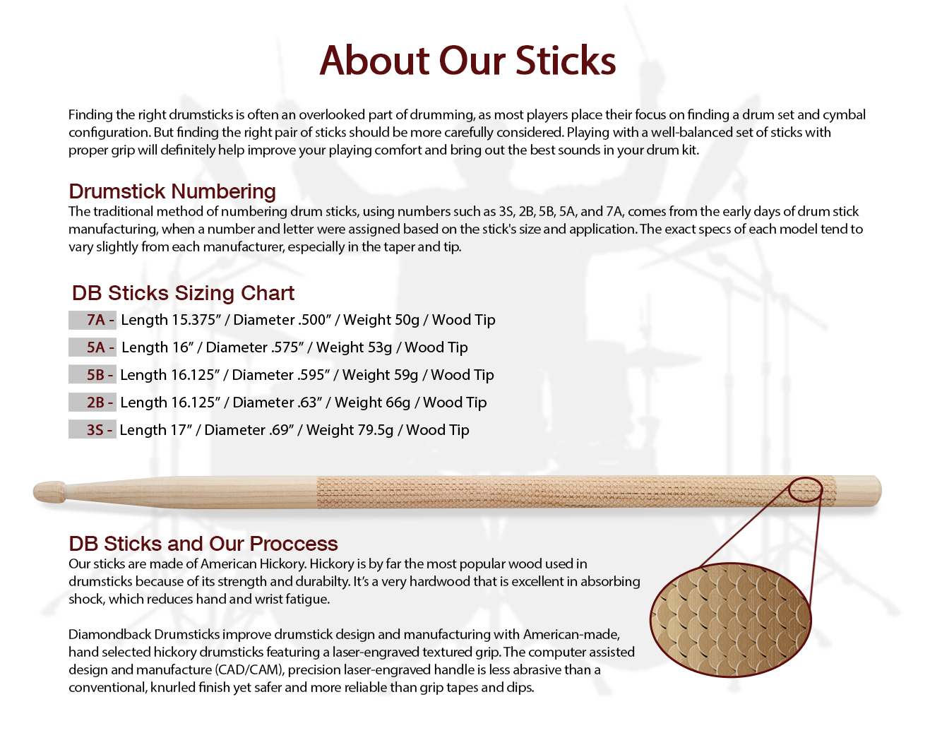 7A Diamondback Drumsticks Hickory Laser Engraved Drum Sticks