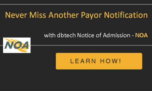 dbtech NOA Notice of Admission Payer Notifications