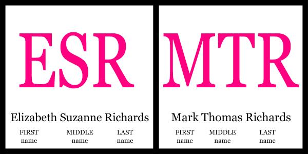 Monogram Etiquette Same Size
