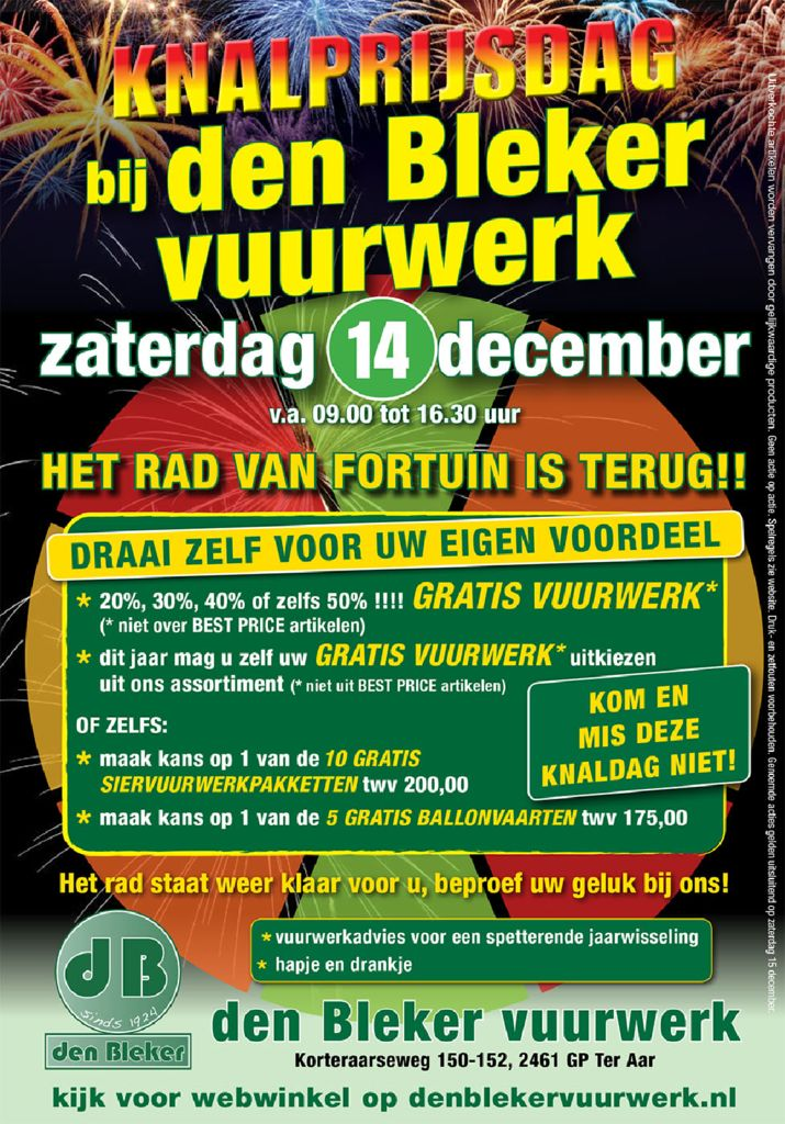 Knalprijsdag bij dB Vuurwerk in Ter Aar, zaterdag 14-12-2019