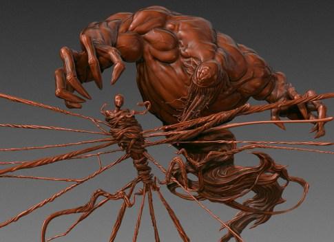 venom & spider-man side matcap render