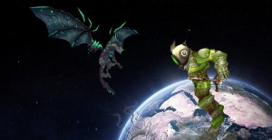 A World of Warcraft Orc with a space helmet, floating above the earth, while a Dragon is flying in space.