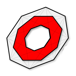 The OCTGN Logo. A red octagon surrounded by a white octagon which is slightly turned