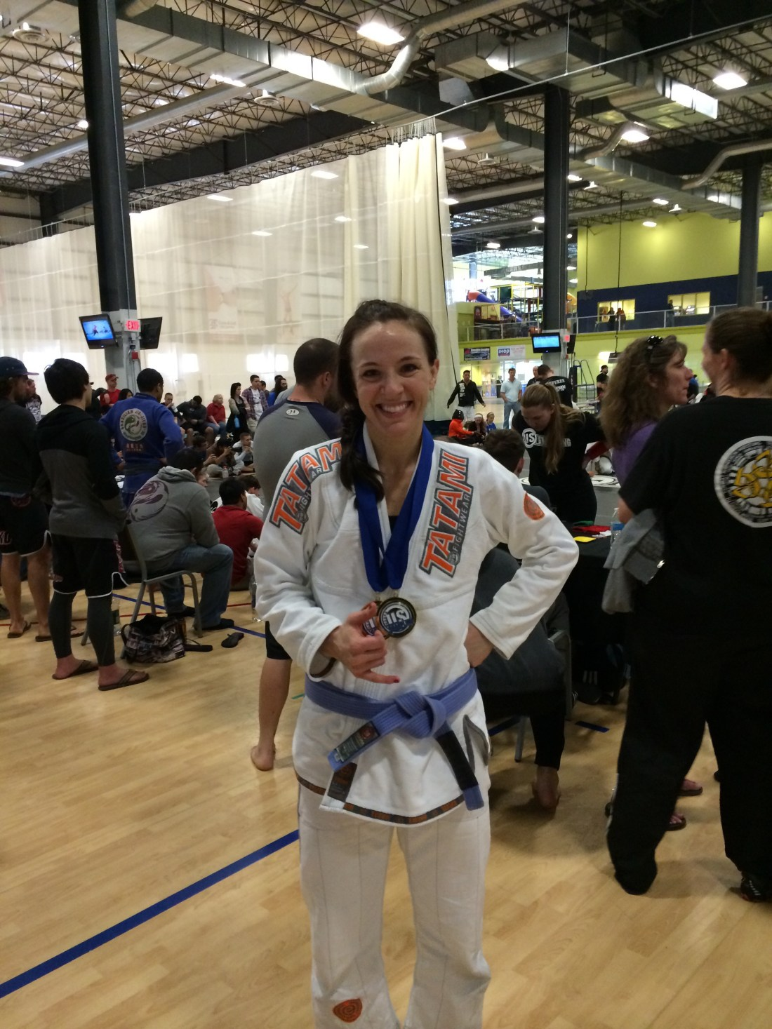 Stephanie winning two gold medals in her weight division and absolute