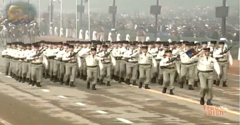 French contingent marches at Rajpath.