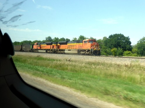 Nochmal ein Zug, wir sind die ganze Zeit parallel zur Strecke gefahren.