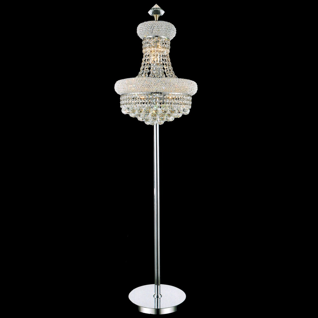 Brizzo Lighting Stores. Empire Crystal Floor Lamp Chrome