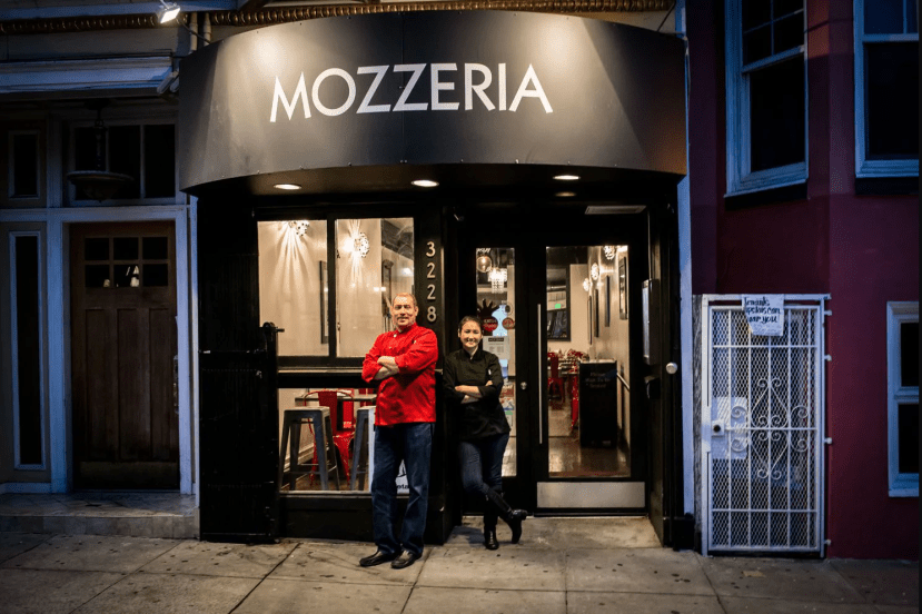 Russ and Melody Stein in front of Mozzeria San Francisco