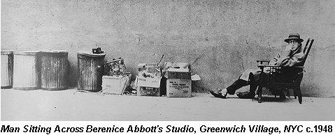 Man Sitting Across Berenice Abbott's Studio in 1948 by Lida Moser