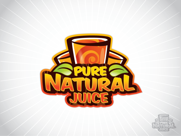 Playful Colorful Logo Design Pure Natural Juice