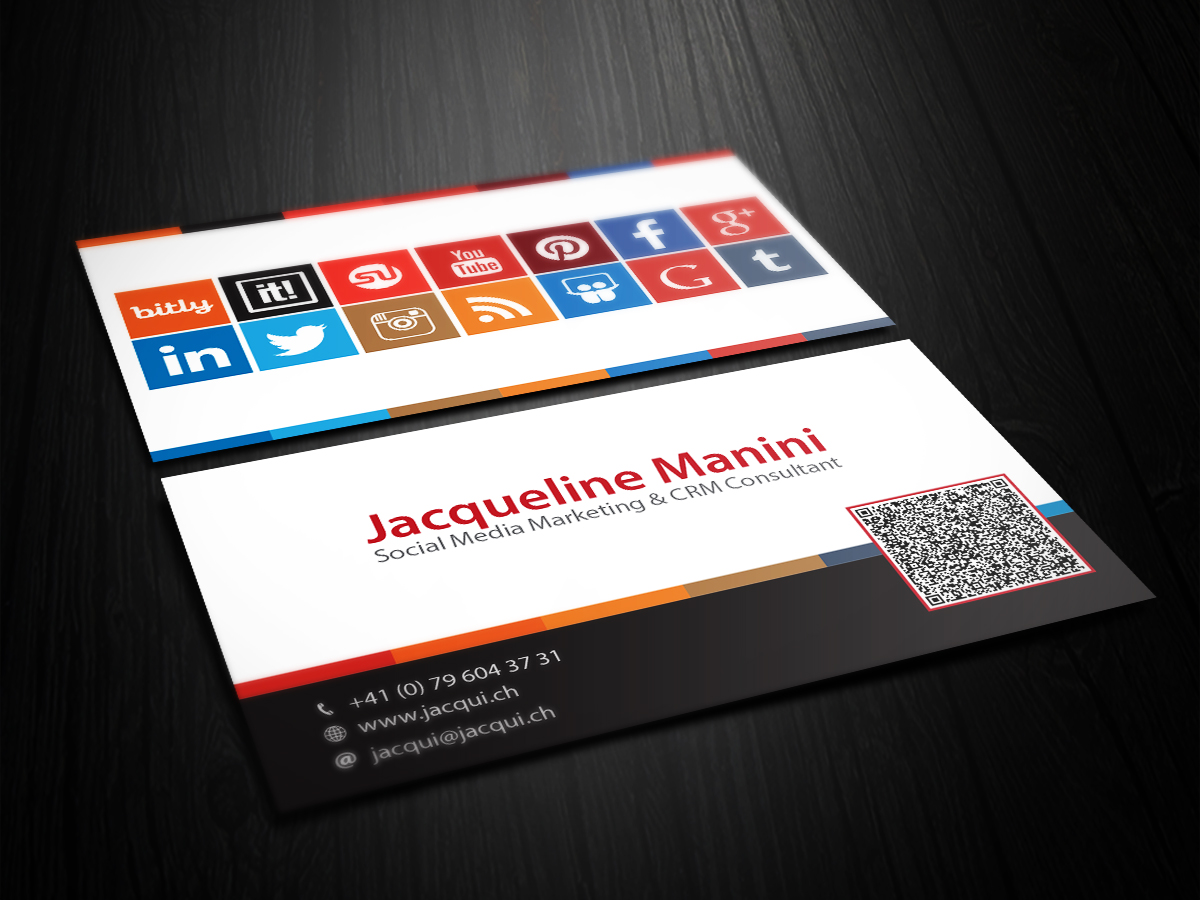 Modern Colorful Business Card Design For Jacqui Manini By