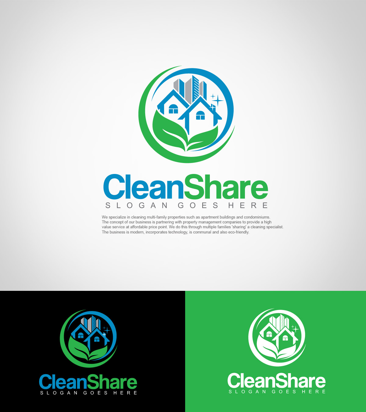 Serious Modern Cleaning Service Logo Design For
