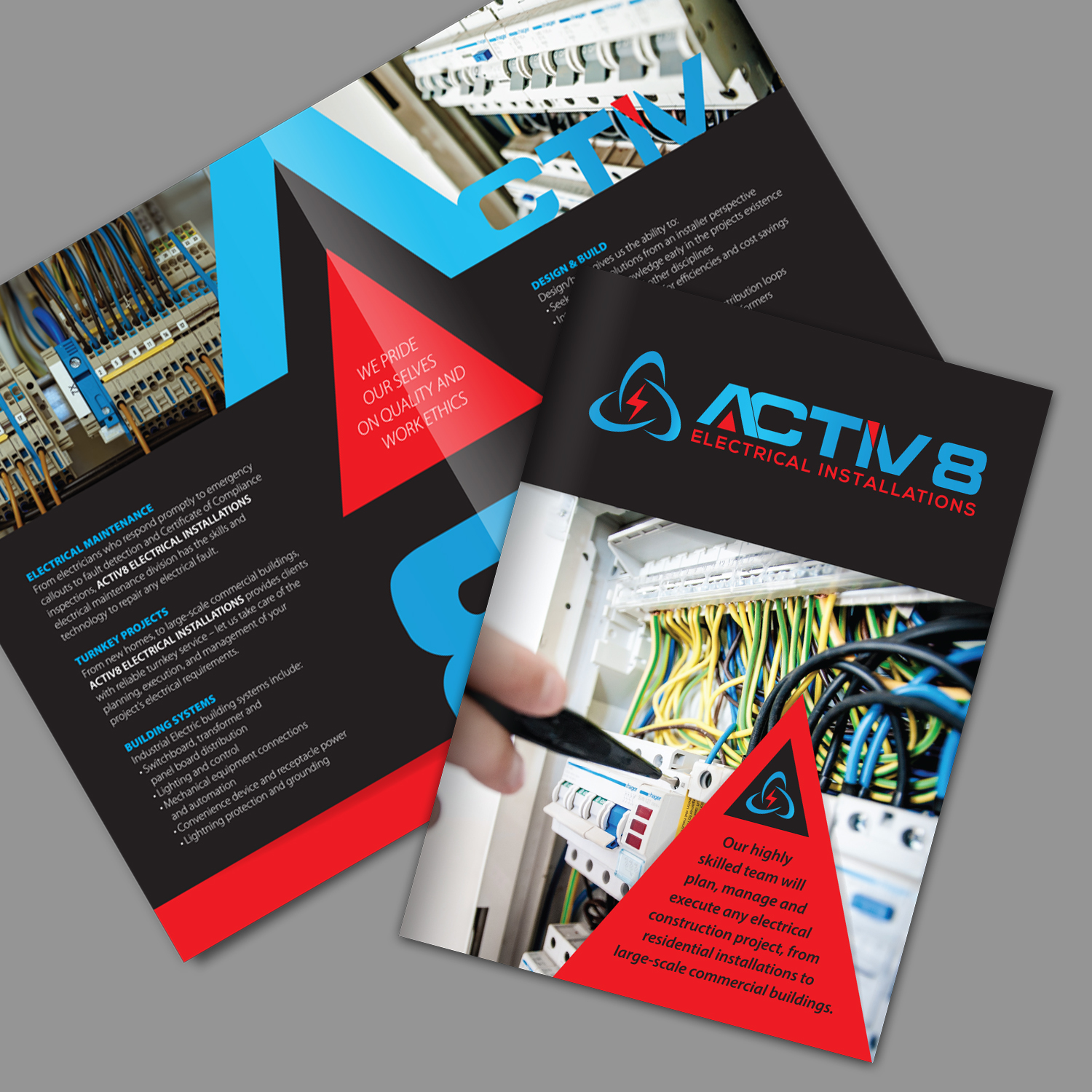 hight resolution of brochure design by ashtree design for activ8 electrical installations design 18964356