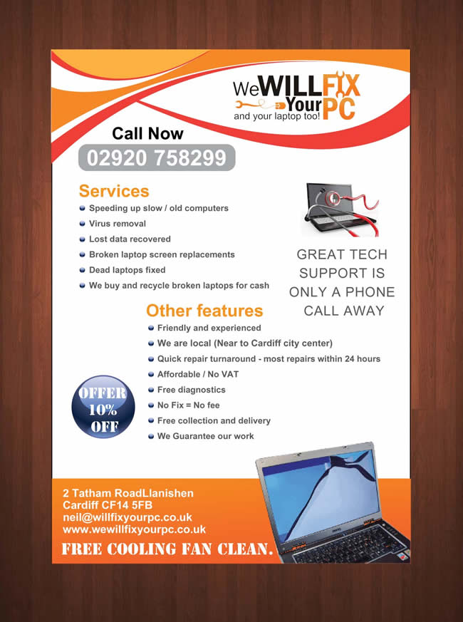 Bold Modern Flyer Design For We WILL Fix Your PC By Sbss