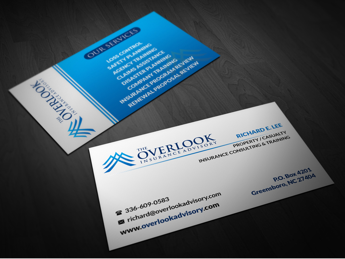 Modern Professional Insurance Business Card Design for The Overlook Insurance Advisory by