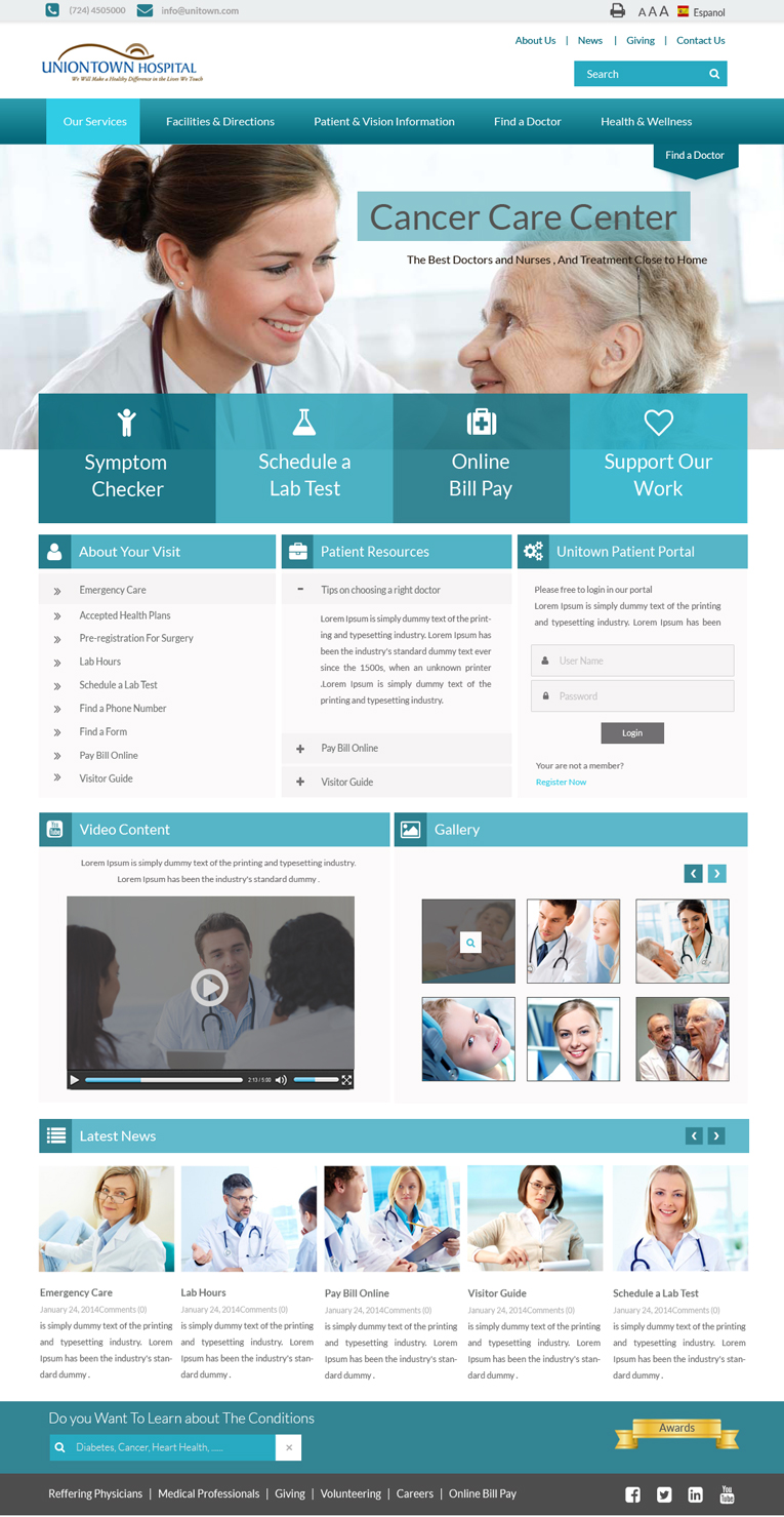 Modern Bold Hospital Web Design for a Company by Advent
