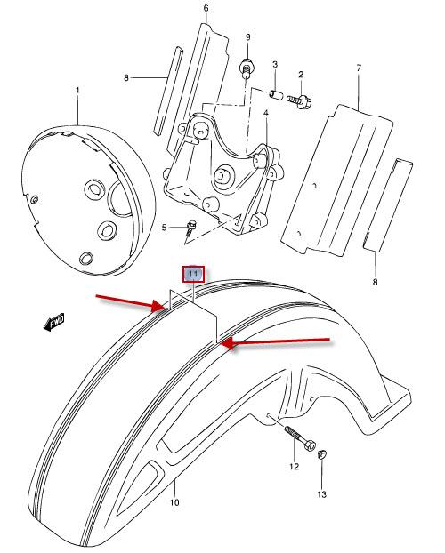 NEU: Aufkleber Kotflügel vorne Suzuki VL 1500 LC Intruder