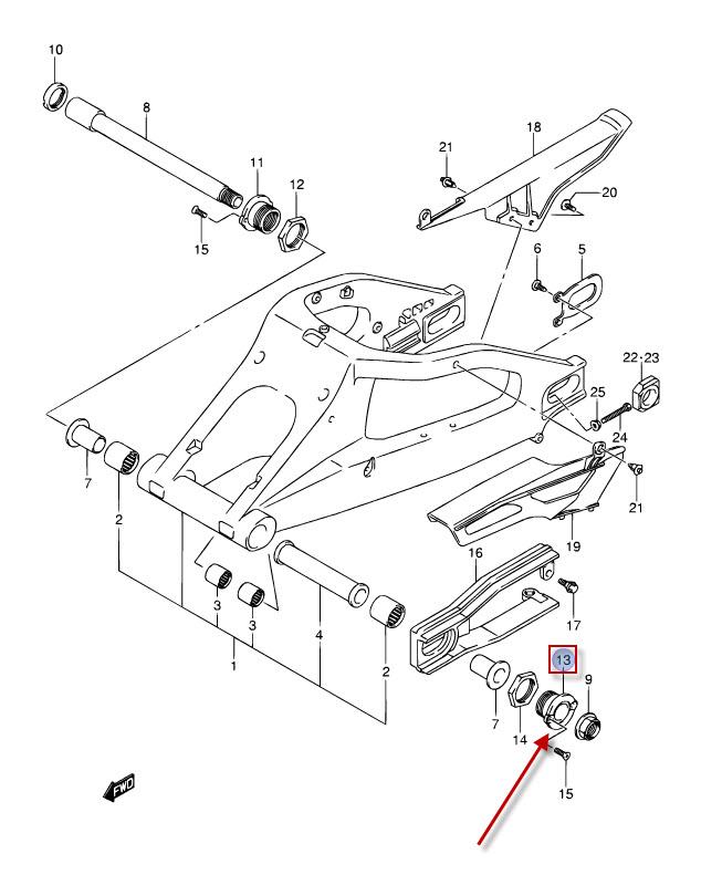 NEU: Befestigungshülse Hinterradschwinge Suzuki GSX-R 1000