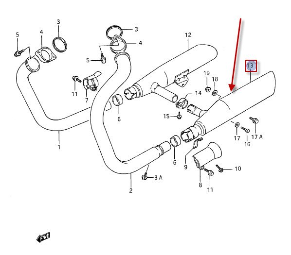 NEU: Auspuff Suzuki VS 1400 GLP Intruder Exhaust Muffler