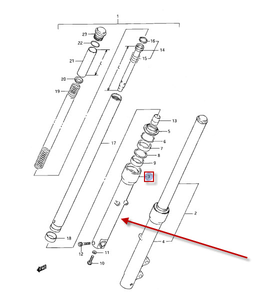 NEU: Tauchrohr / Standrohr aussen Suzuki LS 650 P Savage