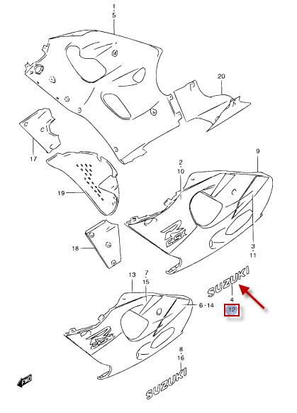 NEU: Aufkleber Seitenverkleidung links Suzuki GSX-R 600