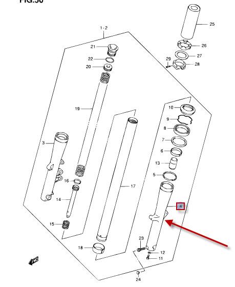 NEU: Tauchrohr / Standrohr aussen Suzuki VL 800 Intruder