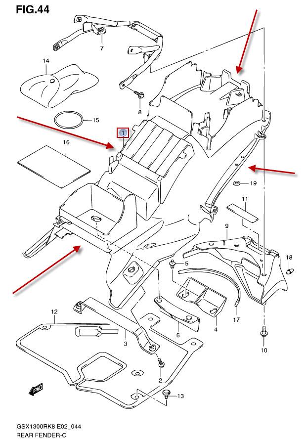 NEU: Kotflügel hinten Suzuki GSX 1300 R Hayabusa Rear