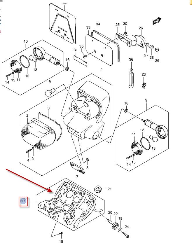 NEU: Halter Kotflügel hinten Suzuki VL 800 Volusia, VL 800