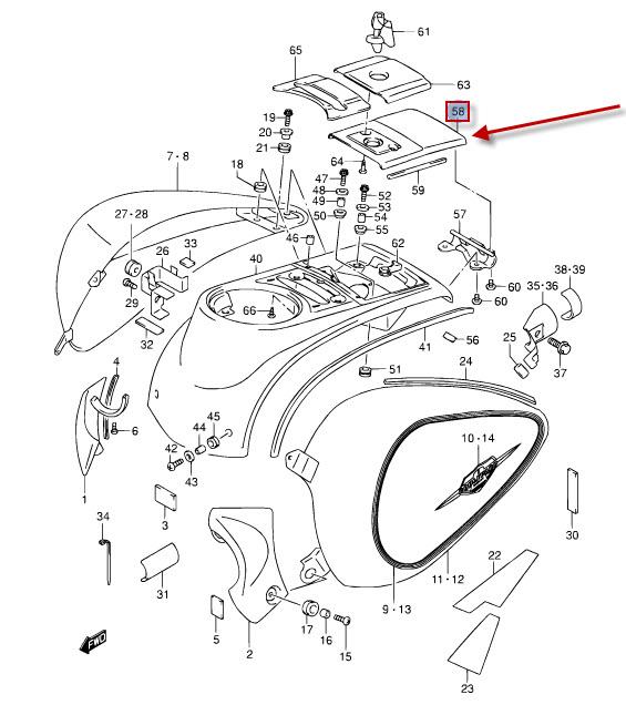 NEU: Tankdeckel Abdeckung Suzuki VL 1500 LC Intruder C1500