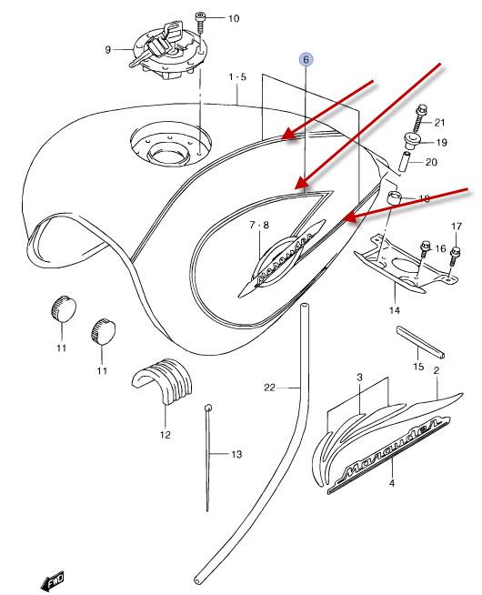 NEU: Aufkleber Benzintank Suzuki VZ 800 Marauder Decal