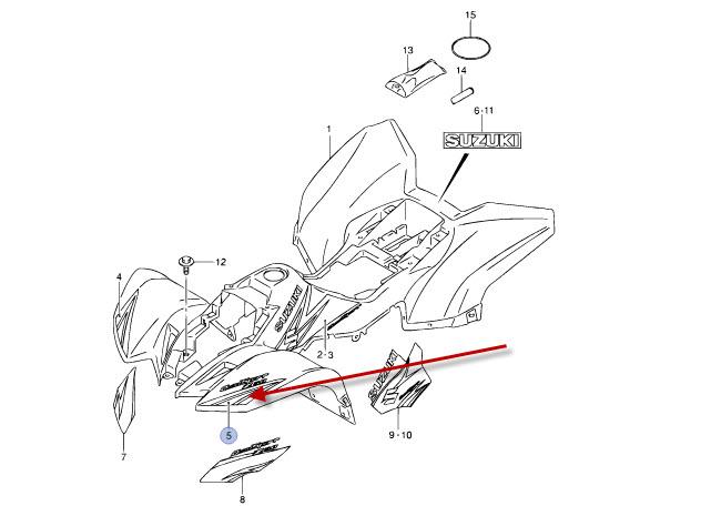 NEU: Aufkleber Frontverkleidung Suzuki LT-Z 50 4T